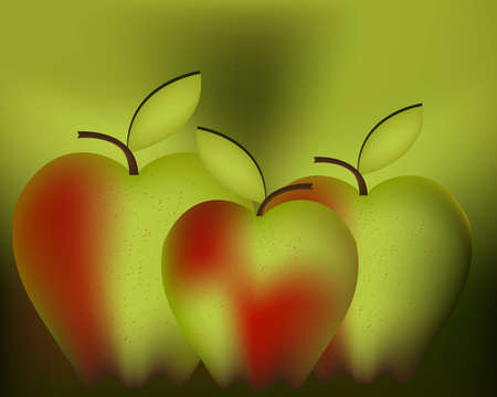 granny smith apple: Art illustration for apple , red green apples