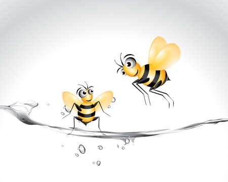 Happy Bee Character, cartoon Illustration. Vector