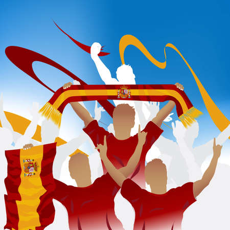 champion spain: Crowd of soccer fan and three soccer players with scarf and flag.