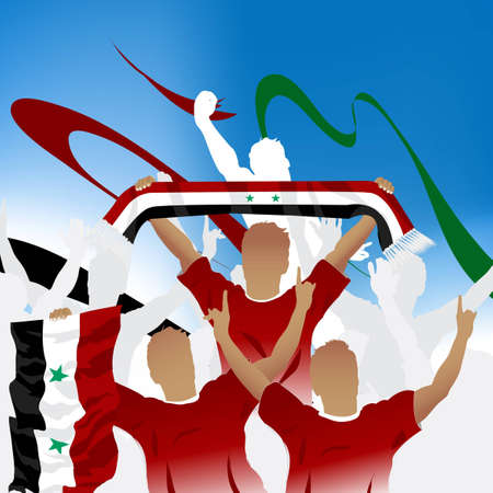 syria: Menge von Fu�ball-Fan und drei Fu�ball-Spieler mit Schal und Flagge.