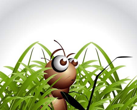 fun grass: Antic Ant Character, cartoon Illustration.