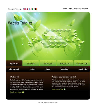Website Template, easy to use in adobe Photoshop, Flash or Illustrator to export it to HTML format, just edit or replace text and add your sub pages. Stock Photo - 8297935