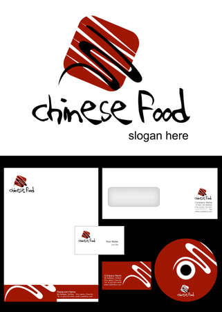 papier en t�te: Conception chinoise de l'alimentation et l'Logo paquet d'identit� d'entreprise, notamment le logo, en-t�te, carte de visite, enveloppes et �tiquettes cd Illustration