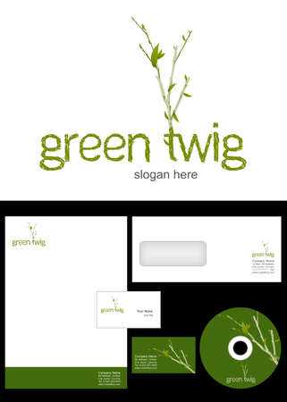 Green Twig Logo Design and corporate identity package including logo, letterhead, business card, envelope and cd label  Vector