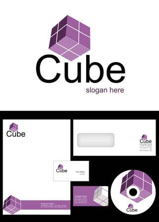 membrete: Cubo Dise�o de Logotipo y el paquete de identidad corporativa incluyendo logotipo, membrete, tarjetas de visita, sobres y etiquetas de CD Vectores