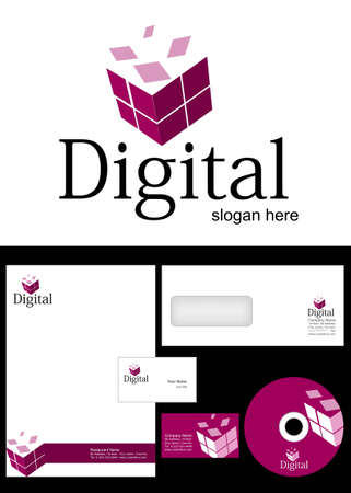 Digital Logo Design and corporate identity package including logo, letterhead, business card, envelope and cd label. Illustration