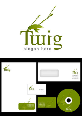 Twig Logo Design and corporate identity package including logo, letterhead, business card, envelope and cd label. Vector