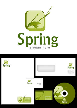Spring Logo Design and corporate identity package including logo, letterhead, business card, envelope and cd label. Stock Vector - 12959811