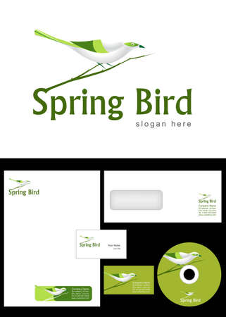 Spring Bird Logo Design and corporate identity package including logo, letterhead, business card, envelope and cd label. Vector