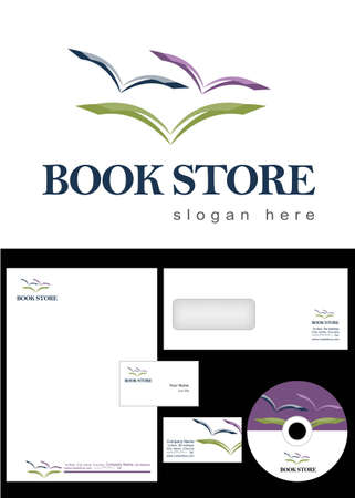 Book Store Logo Design and corporate identity package including logo, letterhead, business card, envelope and cd label. Stock Vector - 12959780