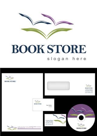 book logo: Book Store Logo Design y el paquete de identidad corporativa incluyendo logotipo, membrete, tarjetas de visita, sobres y etiquetas de CD.