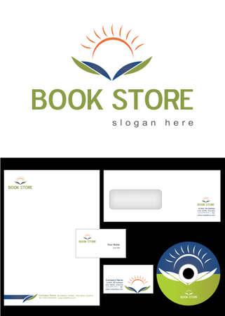 marca libros: Book Store Logo Design y el paquete de identidad corporativa incluyendo logotipo, membrete, tarjetas de visita, sobres y etiquetas de CD.