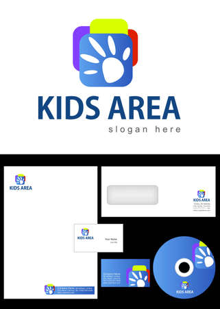 Kids Club, Area, Team, Section Logo Design and corporate identity package including logo, letterhead, business card, envelope and cd label.