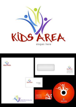 papeteria: Kids Club, kącik, Team, Logo Design sekcja i korporacyjnych pakiet tożsamość w tym logo, papier firmowy, wizytówki, koperty i etykiety cd. Ilustracja