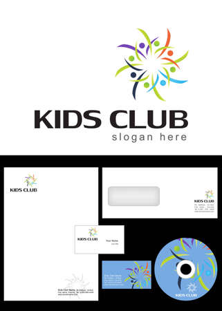 kids club: Kids Club, Area, Team, Section Logo Design and corporate identity package including logo, letterhead, business card, envelope and cd label.