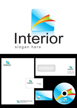 Interior Logo Design and corporate identity package including logo, letterhead, business card, envelope and cd label. Vector