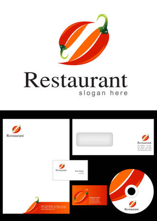 Restaurant Logo Design and corporate identity package including logo, letterhead, business card, envelope and cd label. Vector