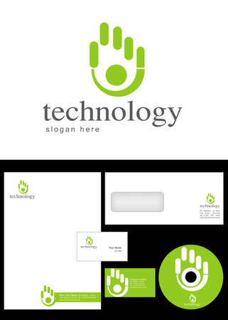 Technology Logo Design and corporate identity package including logo, letterhead, business card, envelope and cd label. Illustration