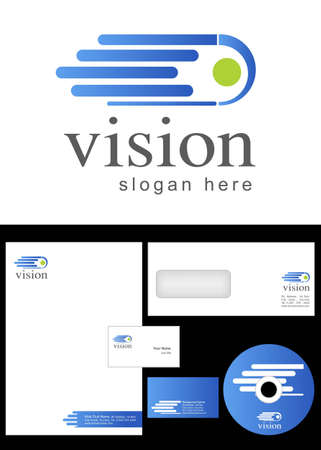 vision Logo Design and corporate identity package including logo, letterhead, business card, envelope and cd label. Vector