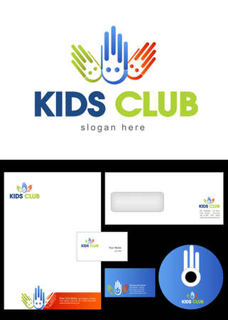 Kids Club, Area, Team, Section Logo Design and corporate identity package including logo, letterhead, business card, envelope and cd label. Vector
