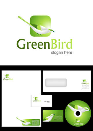 Green Bird Logo Design and corporate identity package including logo, letterhead, business card, envelope and cd label. Vector