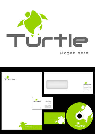 Turtle Logo Design and corporate identity package including logo, letterhead, business card, envelope and cd label. Vector