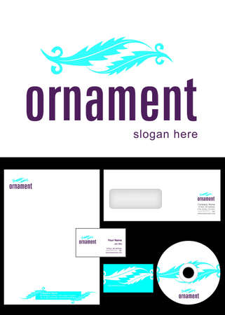 Ornament Logo Design and corporate identity package including logo, letterhead, business card, envelope and cd label. Stock Vector - 12959807