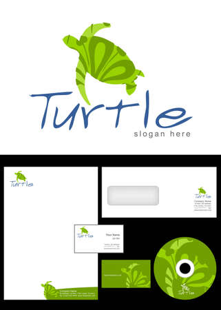 cd label: Turtle Logo Design and corporate identity package including logo, letterhead, business card, envelope and cd label.