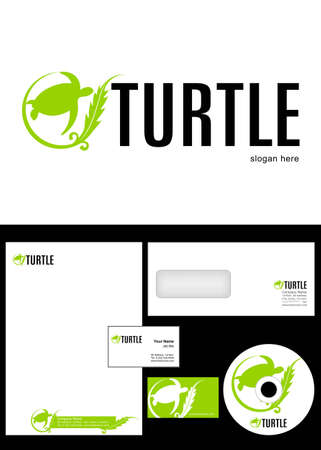 Turtle Logo Design and corporate identity package including logo, letterhead, business card, envelope and cd label.