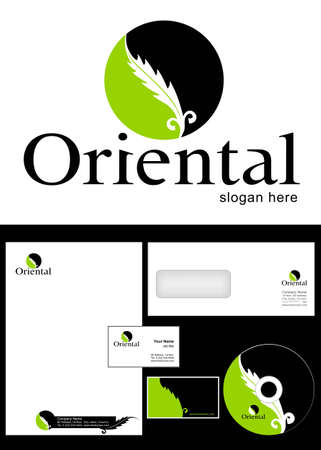 Oriental Logo Design and corporate identity package including logo, letterhead, business card, envelope and cd label. Vector