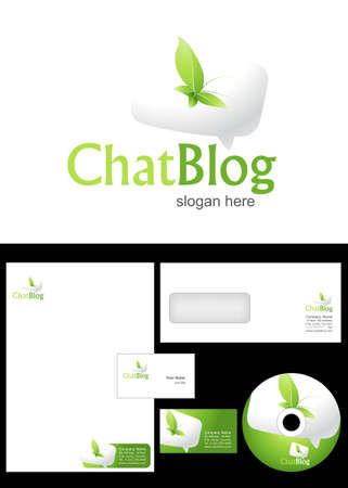 Chat Blog Logo Design and corporate identity package including logo, letterhead, business card, envelope and cd label. Vector