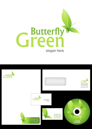 Green Butterfly Logo Design and corporate identity package including logo, letterhead, business card, envelope and cd label. Illustration