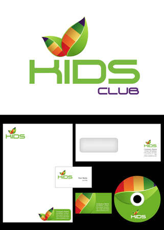 merken: Kids Club, Ruimte, team, sectie Logo ontwerp en huisstijl pakket, inclusief logo, briefpapier, visitekaartje, envelop en cd-label. Stock Illustratie