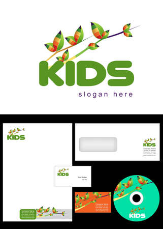 Kids Club, Area, Team, Section Logo Design and corporate identity package including logo, letterhead, business card, envelope and cd label. Stock Vector - 12959857