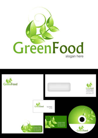 Green Food Logo Design and corporate identity package including logo, letterhead, business card, envelope and cd label. Vector