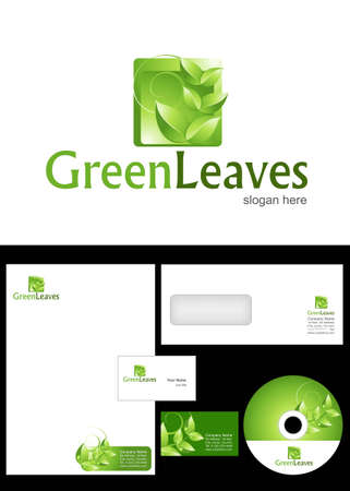 Green Leaves Logo Design and corporate identity package including logo, letterhead, business card, envelope and cd label. Vector