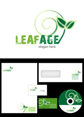 Leafage Logo Design and corporate identity package including logo, letterhead, business card, envelope and cd label. Vector
