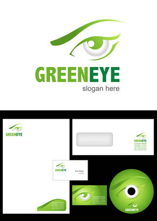 security company: Green eye Logo Design and corporate identity package including logo, letterhead, business card, envelope and cd label. Illustration