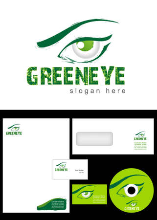 cd label: Green eye Logo Design and corporate identity package including logo, letterhead, business card, envelope and cd label. Illustration