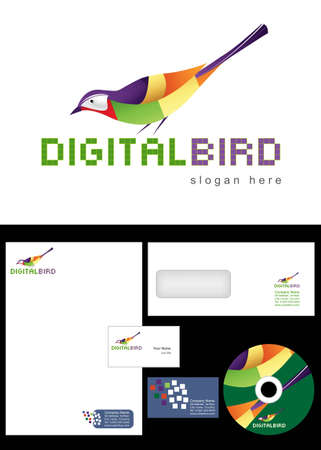 Digital Bird Logo Design and corporate identity package including logo, letterhead, business card, envelope and cd label. Illustration