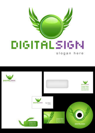 Digital Sign Logo Design and corporate identity package including logo, letterhead, business card, envelope and cd label. Vector
