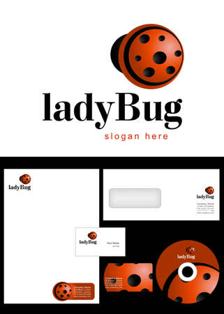 Ladybug Logo Design and corporate identity package including logo, letterhead, business card, envelope and cd label. Vector