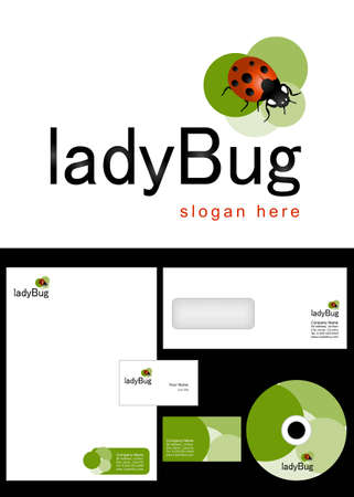 Ladybug Logo Design and corporate identity package including logo, letterhead, business card, envelope and cd label. Stock Vector - 12959782