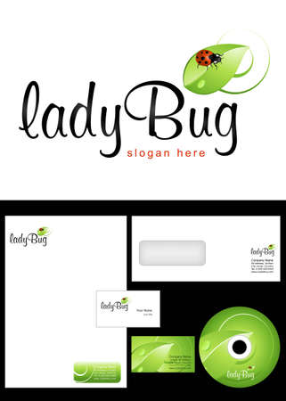 cd label: Ladybug Logo Design and corporate identity package including logo, letterhead, business card, envelope and cd label. Illustration