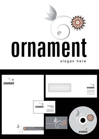 Ornament Logo Design and corporate identity package including logo, letterhead, business card, envelope and cd label. Vector