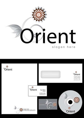 Orient Logo Design and corporate identity package including logo, letterhead, business card, envelope and cd label. Vector