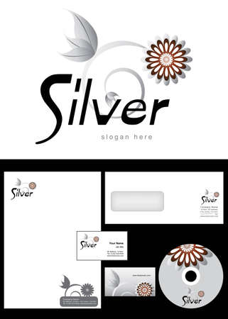 Silver Logo Design and corporate identity package including logo, letterhead, business card, envelope and cd label. Vector