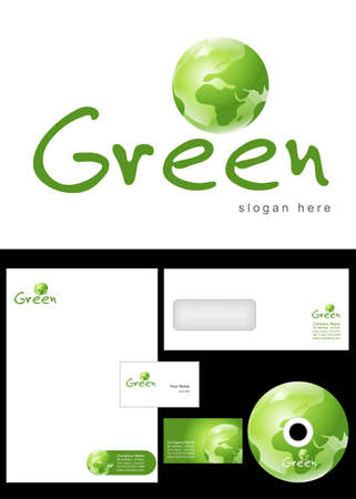 Green Logo Design and corporate identity package including logo, letterhead, business card, envelope and cd label. Stock Vector - 12959761