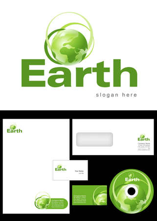 cd label: Earth Logo Design and corporate identity package including logo, letterhead, business card, envelope and cd label. Illustration