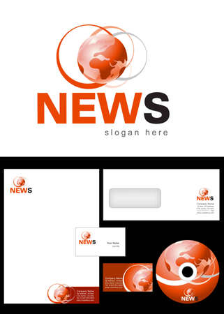 News Blog Logo Design and corporate identity package including logo, letterhead, business card, envelope and cd label. Stock Vector - 12959753